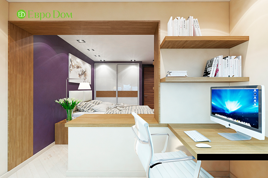 Дизайн двухкомнатной квартиры 65 кв. м в современном стиле. Фото 010