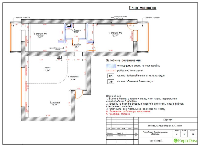 Дизайн двухкомнатной квартиры 65 кв. м в современном стиле. Фото 020