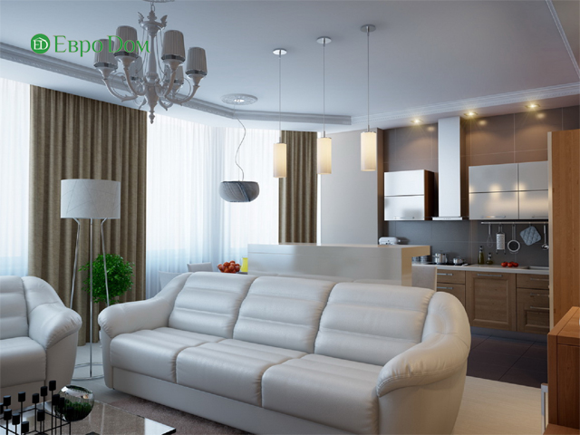 Дизайн двухкомнатной квартиры 80 кв. м в современном стиле. Фото 06