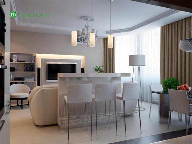 Дизайн двухкомнатной квартиры 80 кв. м в современном стиле. Фото 07