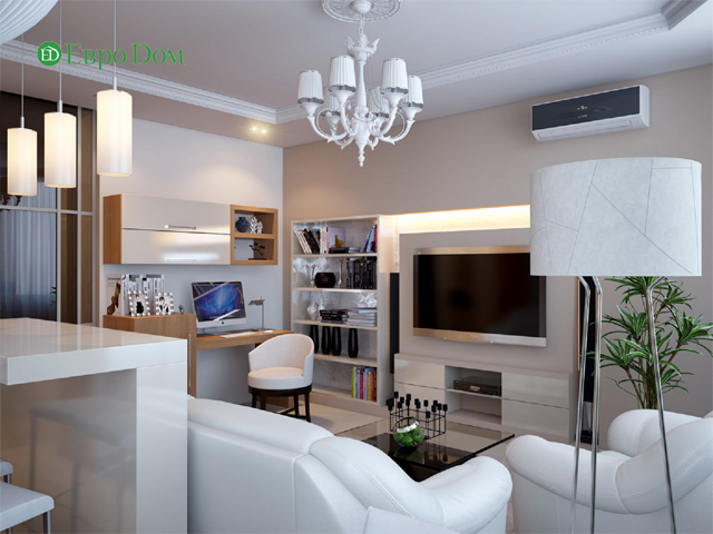 Дизайн двухкомнатной квартиры 80 кв. м в современном стиле. Фото 09