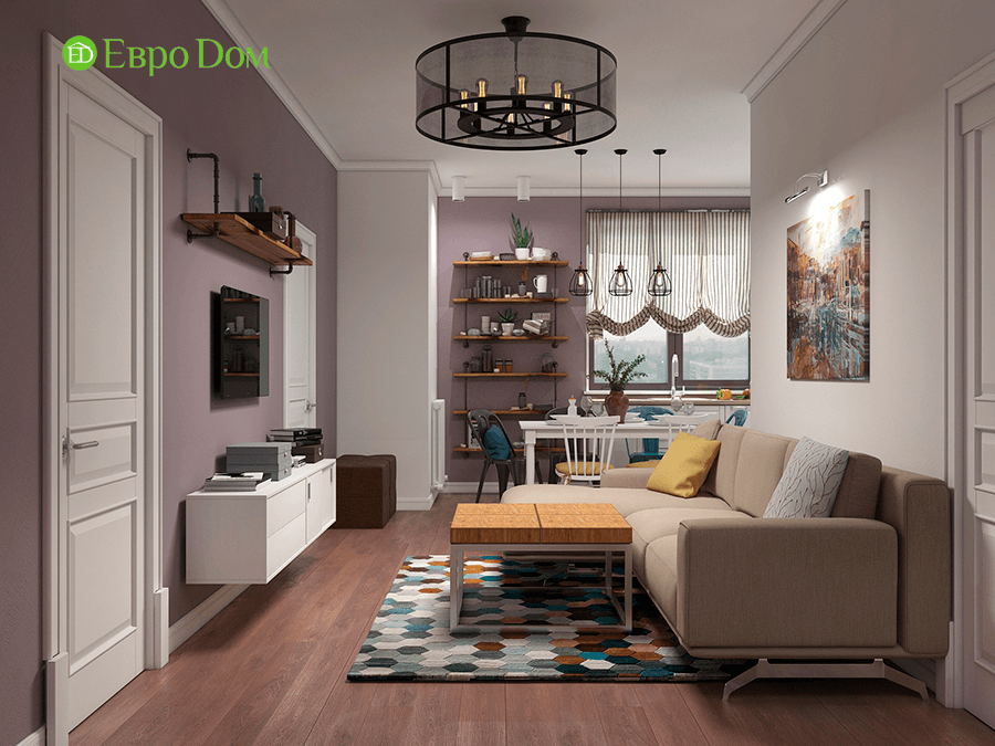 Дизайн двухкомнатной квартиры 67 кв. м в стиле прованс. Фото 03