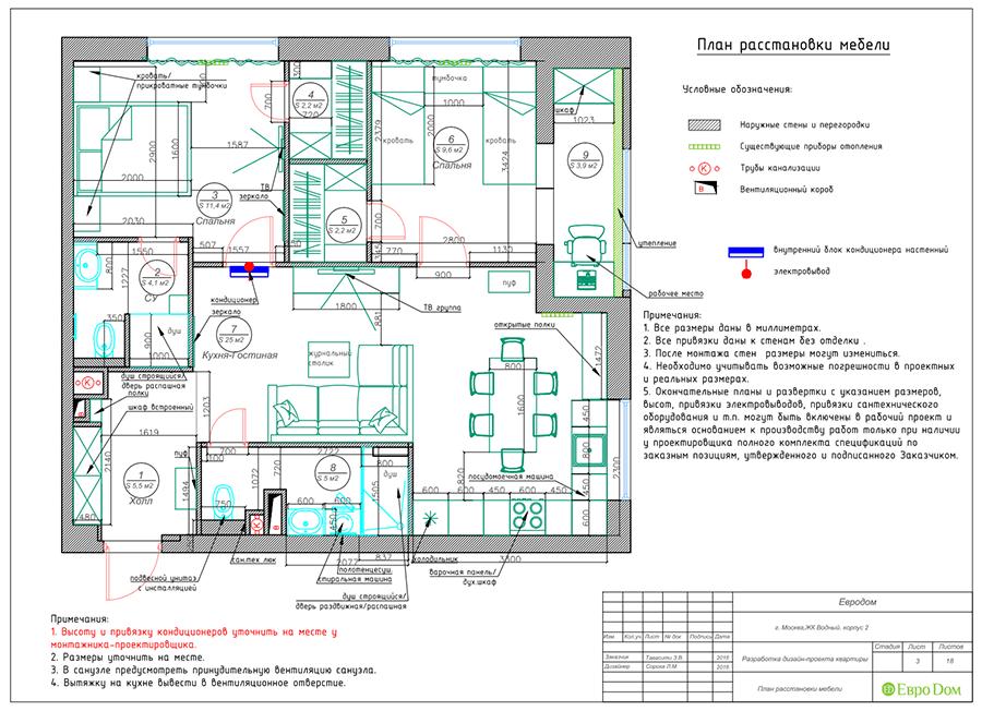 Дизайн двухкомнатной квартиры 67 кв. м в стиле прованс. Фото 020