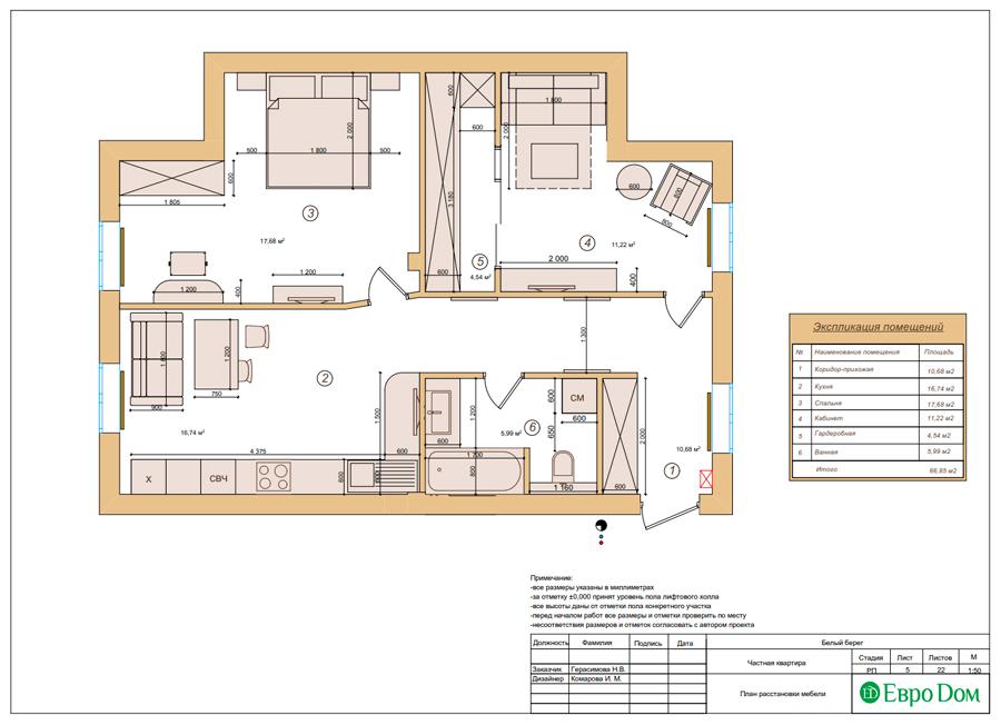 Дизайн интерьера квартиры в стиле прованс, 2 комнаты, 67 кв. м. Фото 015