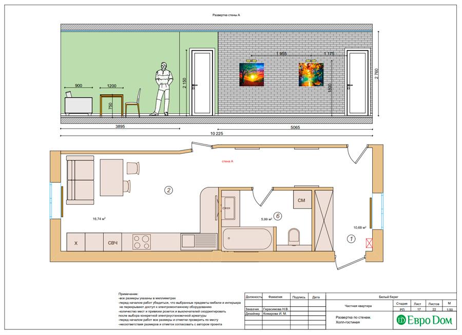 Дизайн интерьера квартиры в стиле прованс, 2 комнаты, 67 кв. м. Фото 027