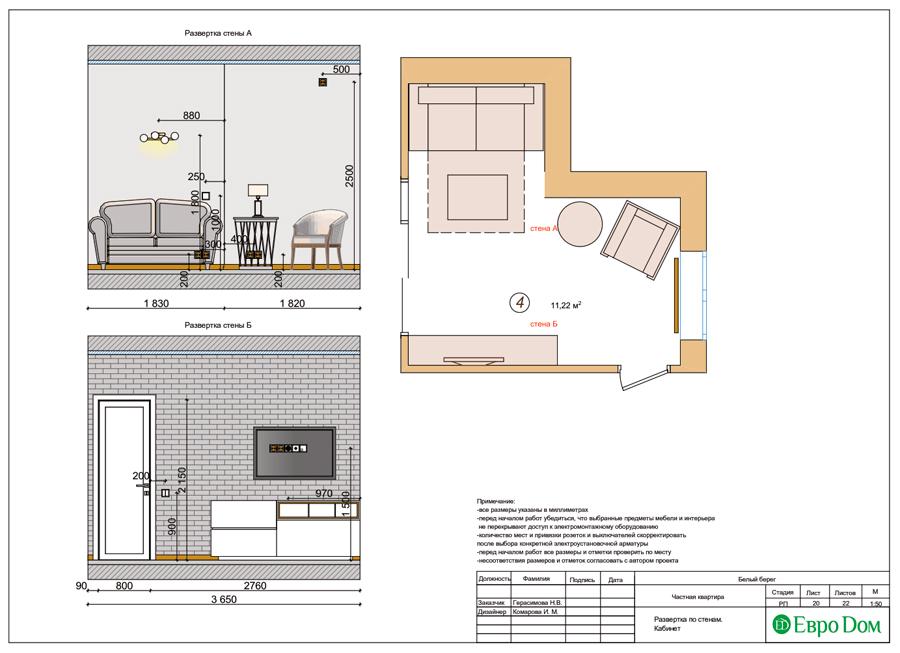 Дизайн интерьера квартиры в стиле прованс, 2 комнаты, 67 кв. м. Фото 030