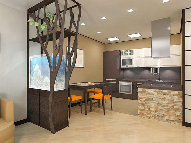 Дизайн двухкомнатной квартиры 62 кв. м в современном стиле. Фото 02