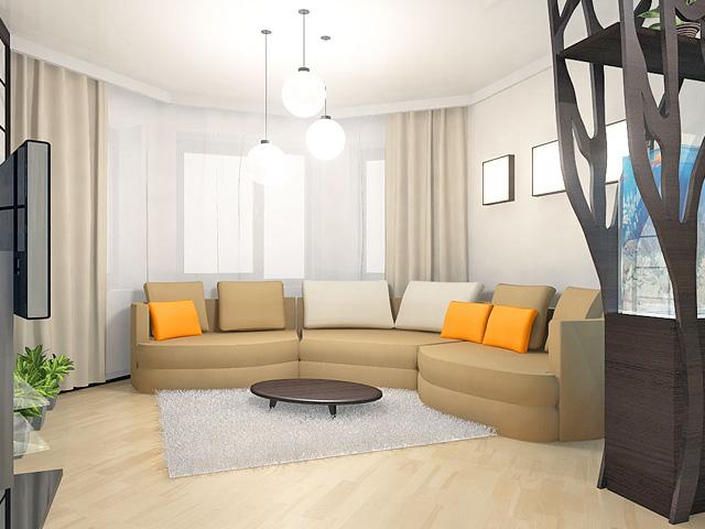 Дизайн двухкомнатной квартиры 62 кв. м в современном стиле. Фото 011