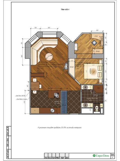 Дизайн двухкомнатной квартиры 62 кв. м в современном стиле. Фото 027