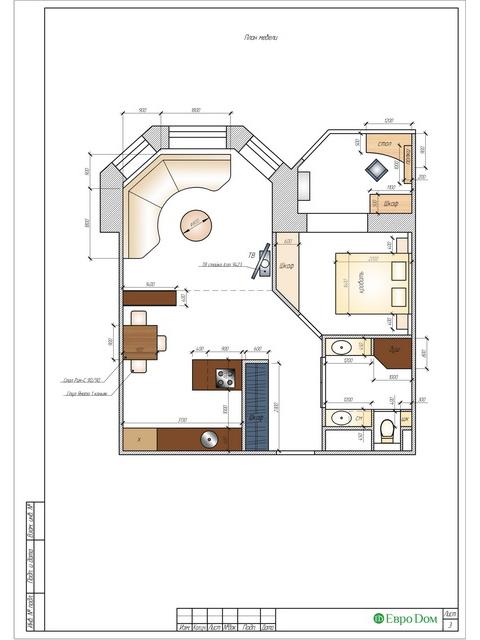 Дизайн двухкомнатной квартиры 62 кв. м в современном стиле. Фото 029