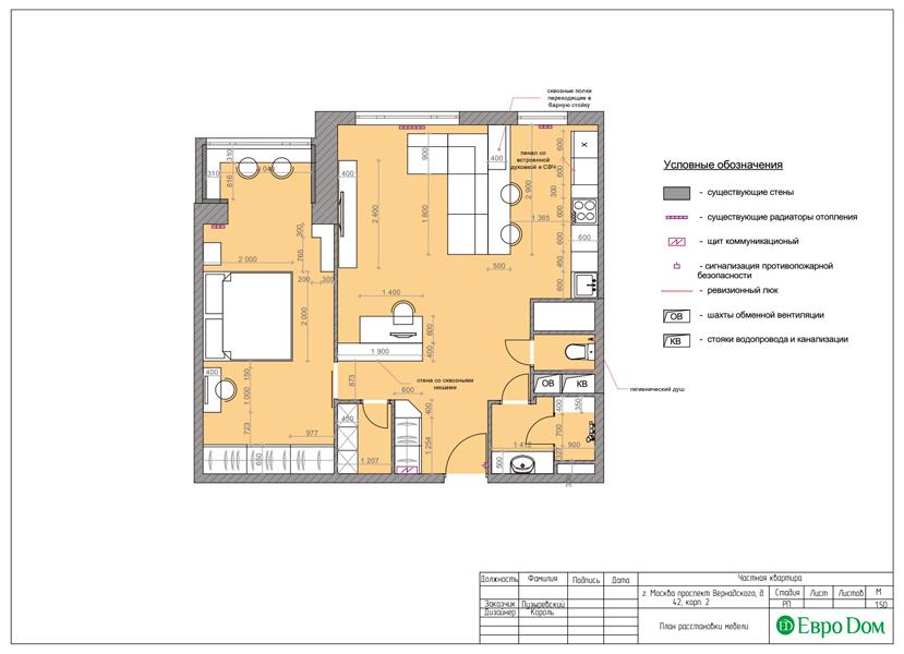 Дизайн двухкомнатной квартиры 63 кв. м в современном стиле. Фото 014