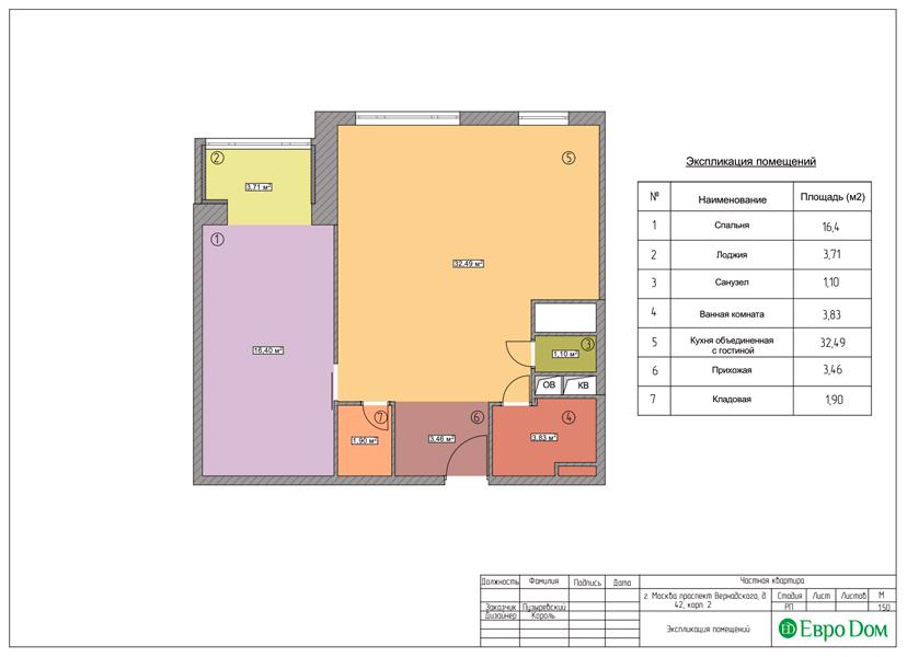 Дизайн двухкомнатной квартиры 63 кв. м в современном стиле. Фото 015