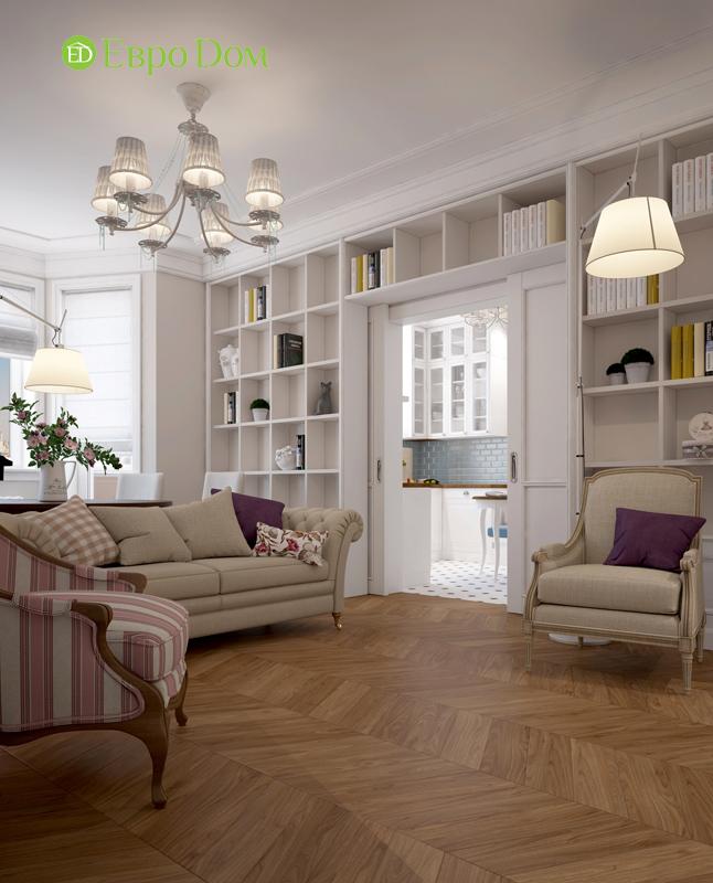 Дизайн интерьера трехкомнатной квартиры 100 кв. м в стиле прованс. Фото 03