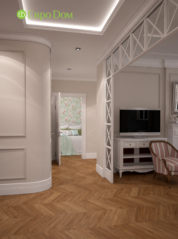 Дизайн интерьера трехкомнатной квартиры 100 кв. м в стиле прованс. Фото 07