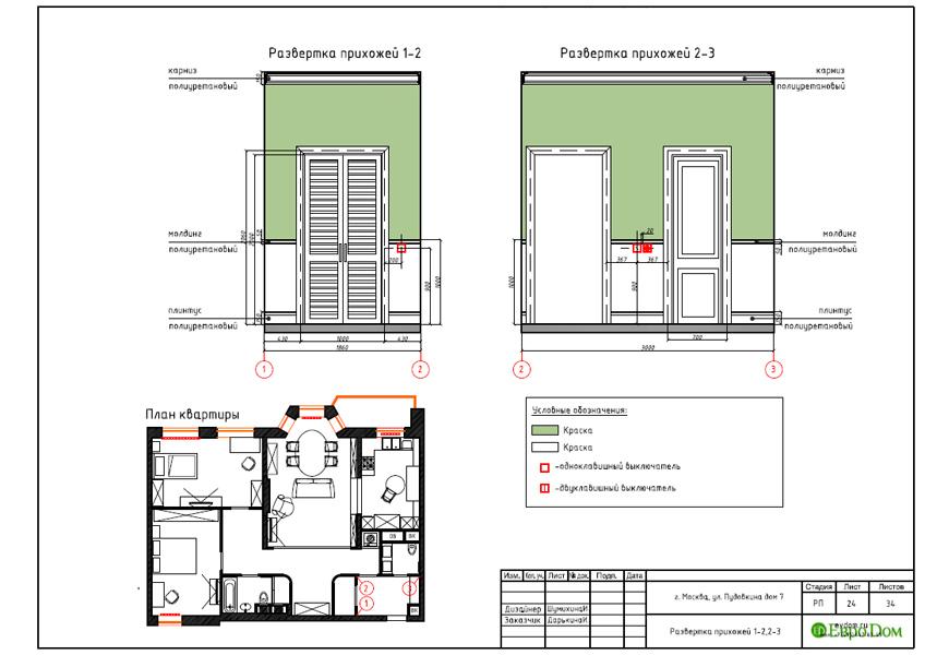 Дизайн интерьера трехкомнатной квартиры 100 кв. м в стиле прованс. Фото 041