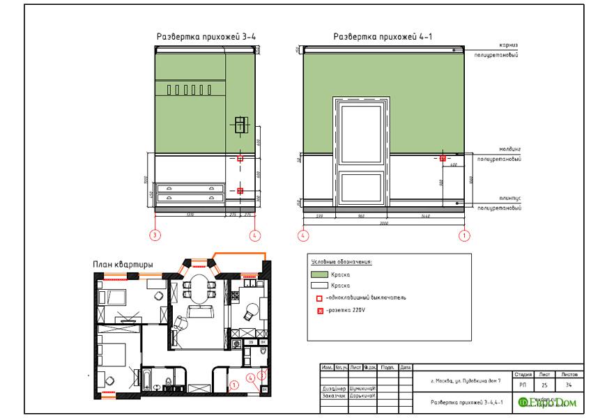 Дизайн интерьера трехкомнатной квартиры 100 кв. м в стиле прованс. Фото 042