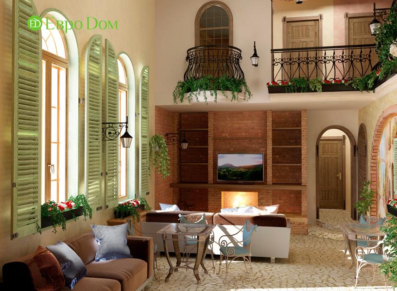 Дизайн интерьера коттеджа 434 кв. м в деревенском стиле. Фото 02