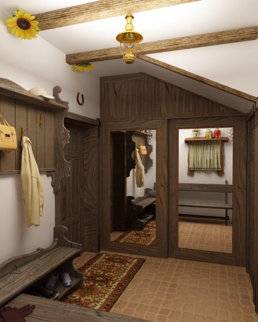 Дизайн интерьера коттеджа 434 кв. м в деревенском стиле. Фото 09