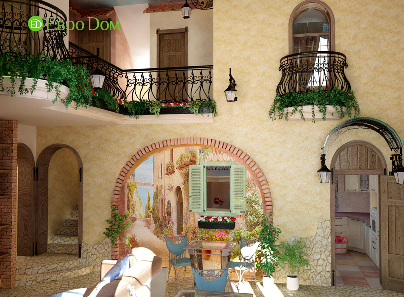 Дизайн интерьера коттеджа 434 кв. м в деревенском стиле. Фото 015