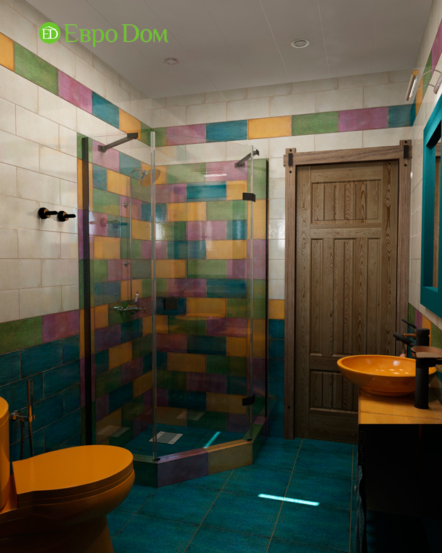 Дизайн интерьера коттеджа 434 кв. м в деревенском стиле. Фото 030
