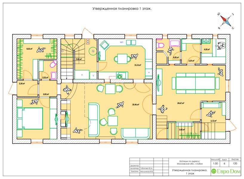 Дизайн интерьера коттеджа 434 кв. м в деревенском стиле. Фото 046