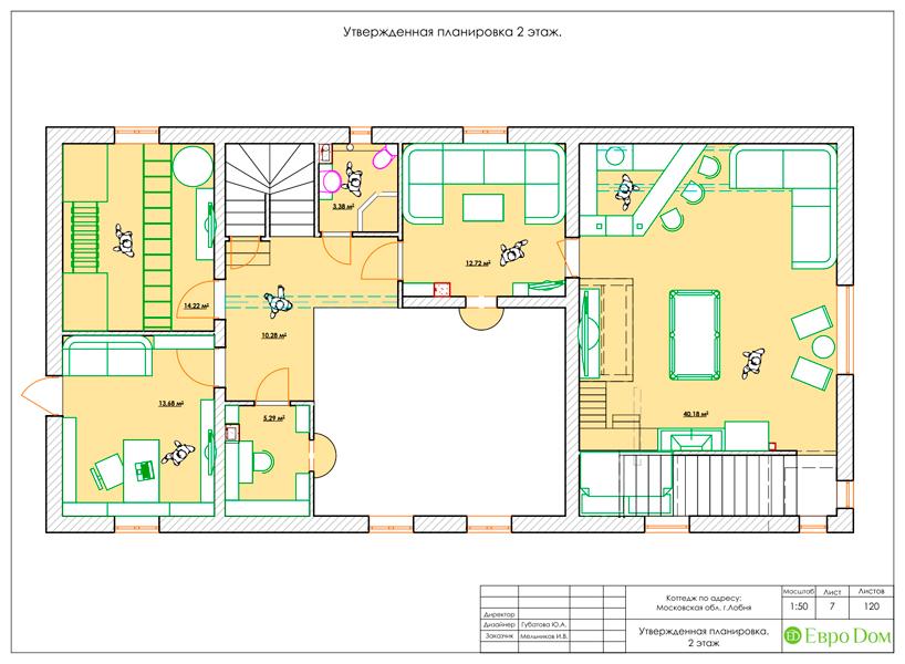 Дизайн интерьера коттеджа 434 кв. м в деревенском стиле. Фото 047