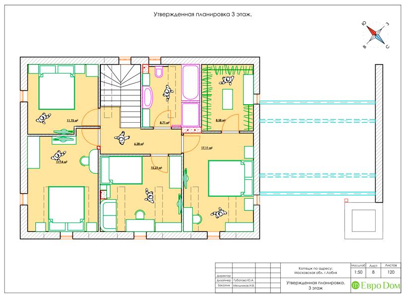 Дизайн интерьера коттеджа 434 кв. м в деревенском стиле. Фото 048