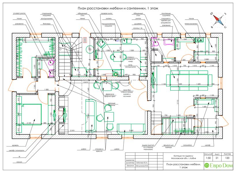 Дизайн интерьера коттеджа 434 кв. м в деревенском стиле. Фото 062