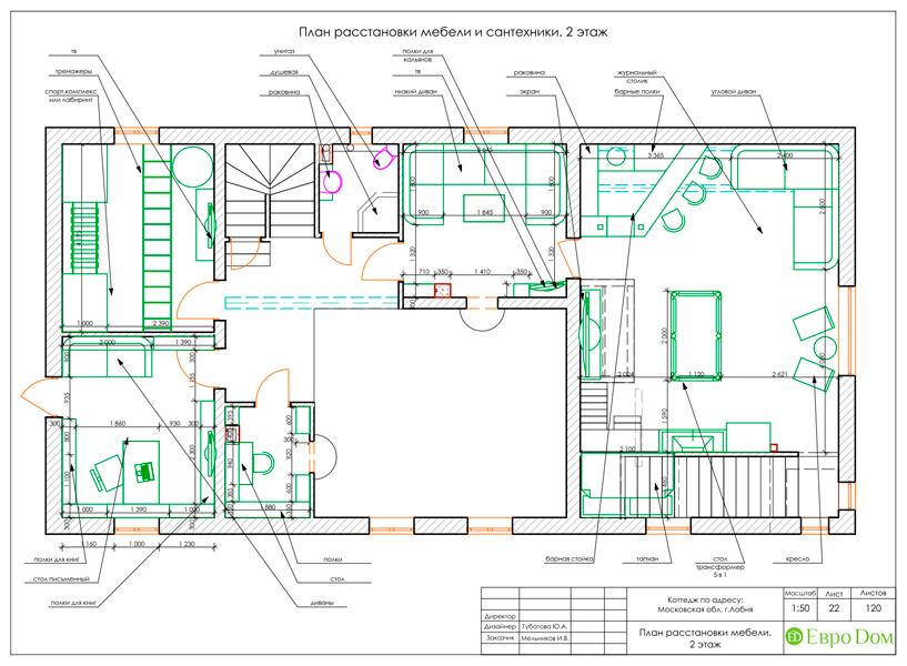 Дизайн интерьера коттеджа 434 кв. м в деревенском стиле. Фото 063