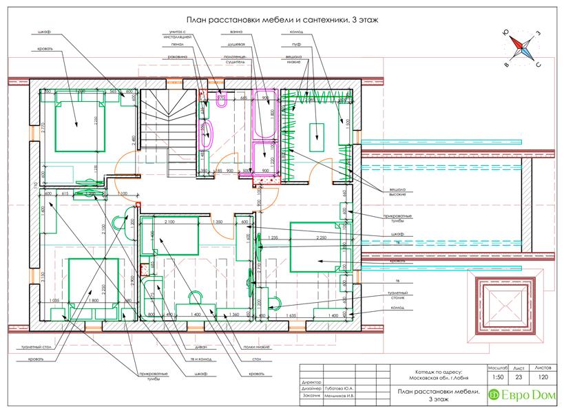 Дизайн интерьера коттеджа 434 кв. м в деревенском стиле. Фото 064