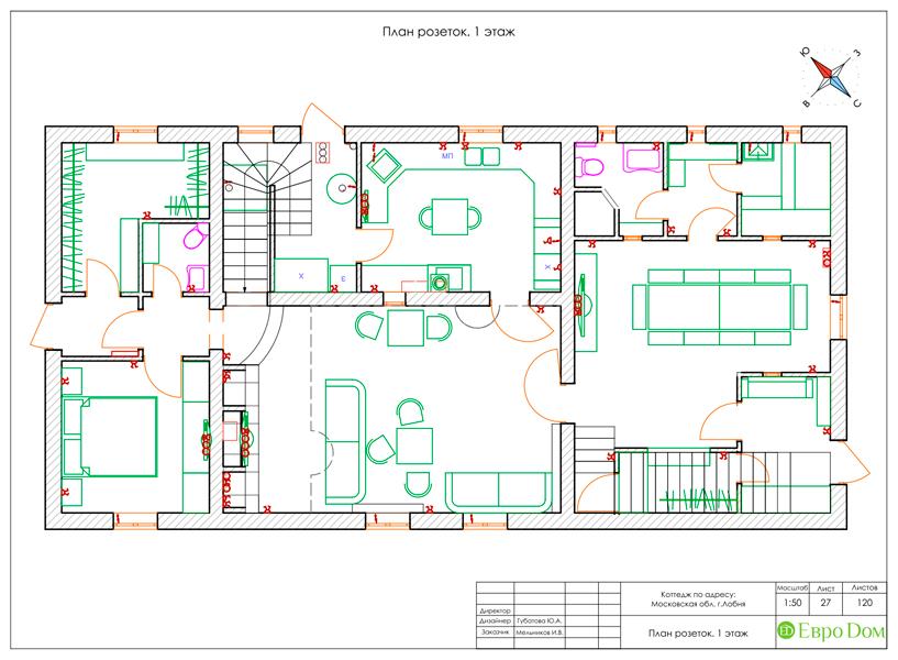 Дизайн интерьера коттеджа 434 кв. м в деревенском стиле. Фото 068