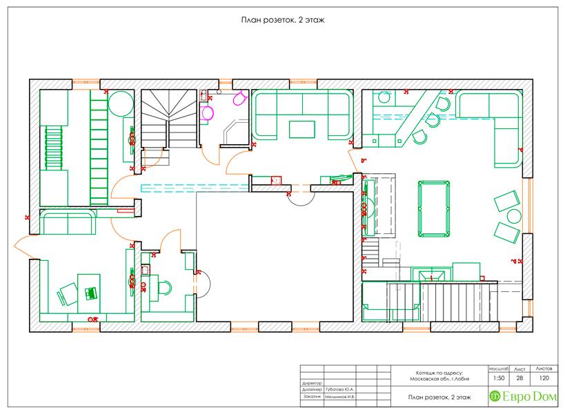 Дизайн интерьера коттеджа 434 кв. м в деревенском стиле. Фото 069