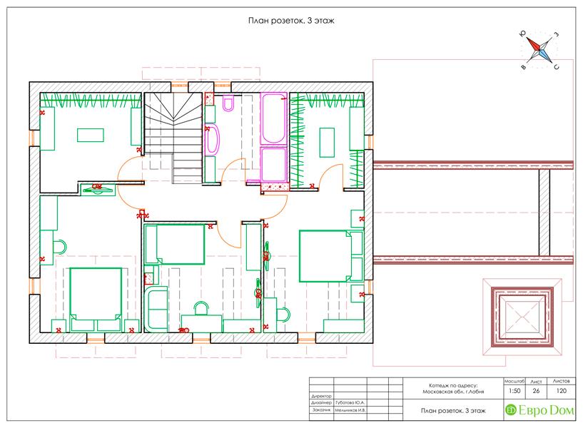 Дизайн интерьера коттеджа 434 кв. м в деревенском стиле. Фото 070