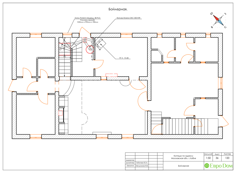 Дизайн интерьера коттеджа 434 кв. м в деревенском стиле. Фото 078