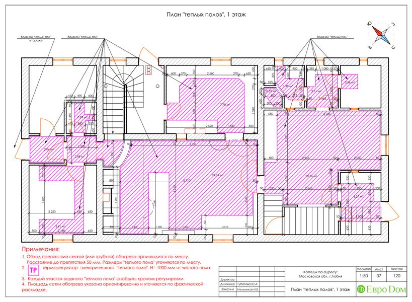 Дизайн интерьера коттеджа 434 кв. м в деревенском стиле. Фото 089