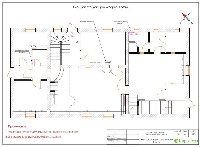 Дизайн интерьера коттеджа 434 кв. м в деревенском стиле. Фото 097