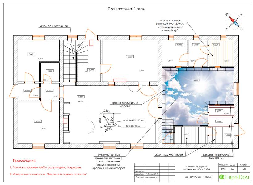 Дизайн интерьера коттеджа 434 кв. м в деревенском стиле. Фото 0105