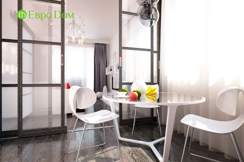 Дизайн двухкомнатной квартиры 64 кв. м в стиле минимализм. Фото 013