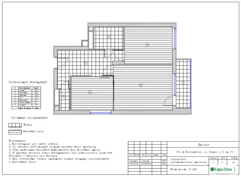 Дизайн двухкомнатной квартиры 64 кв. м в стиле минимализм. Фото 023