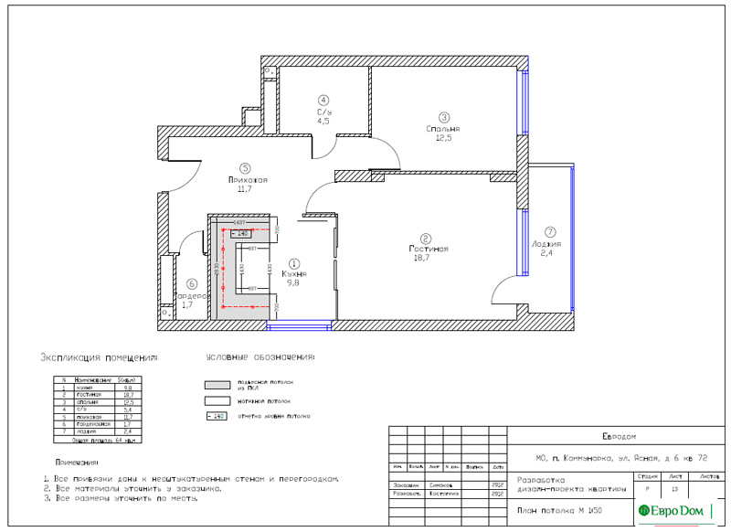 Дизайн двухкомнатной квартиры 64 кв. м в стиле минимализм. Фото 031