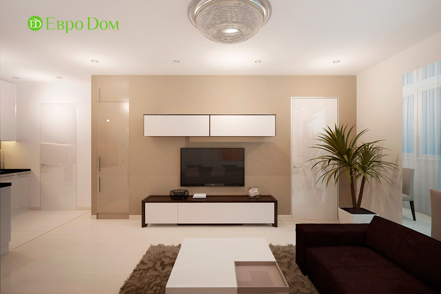 Дизайн 1-комнатной квартиры 55 кв. м в стиле минимализм. Фото 04