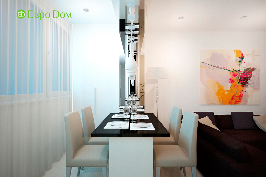 Дизайн 1-комнатной квартиры 55 кв. м в стиле минимализм. Фото 05