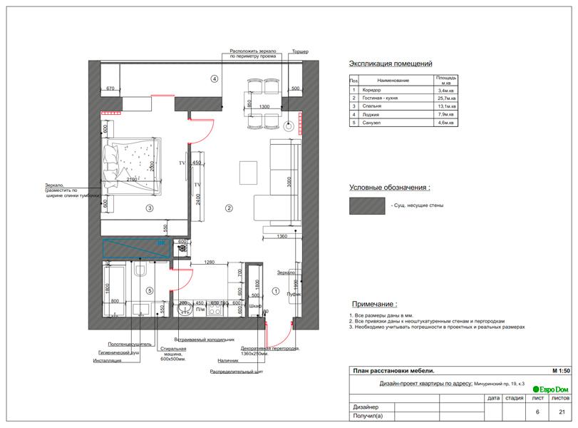 Дизайн 1-комнатной квартиры 55 кв. м в стиле минимализм. Фото 016