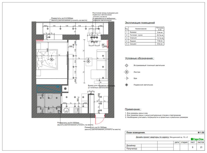 Дизайн 1-комнатной квартиры 55 кв. м в стиле минимализм. Фото 019