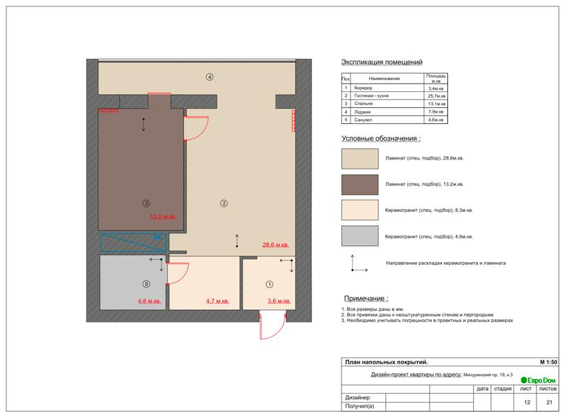 Дизайн 1-комнатной квартиры 55 кв. м в стиле минимализм. Фото 022