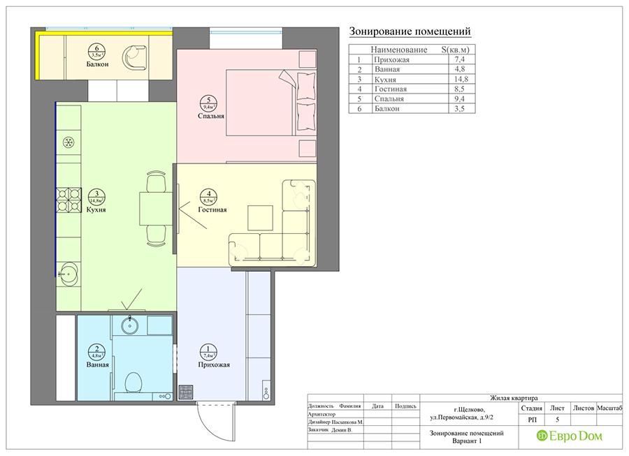 Дизайн 1-комнатной квартиры в современном стиле. Фото 018
