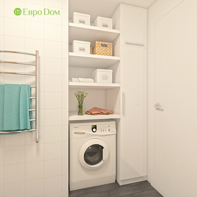 Дизайн двухкомнатной квартиры 63 кв. м в стиле белый лофт. Фото 08