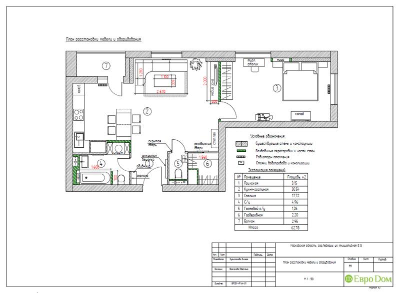 Дизайн двухкомнатной квартиры 63 кв. м в стиле белый лофт. Фото 019