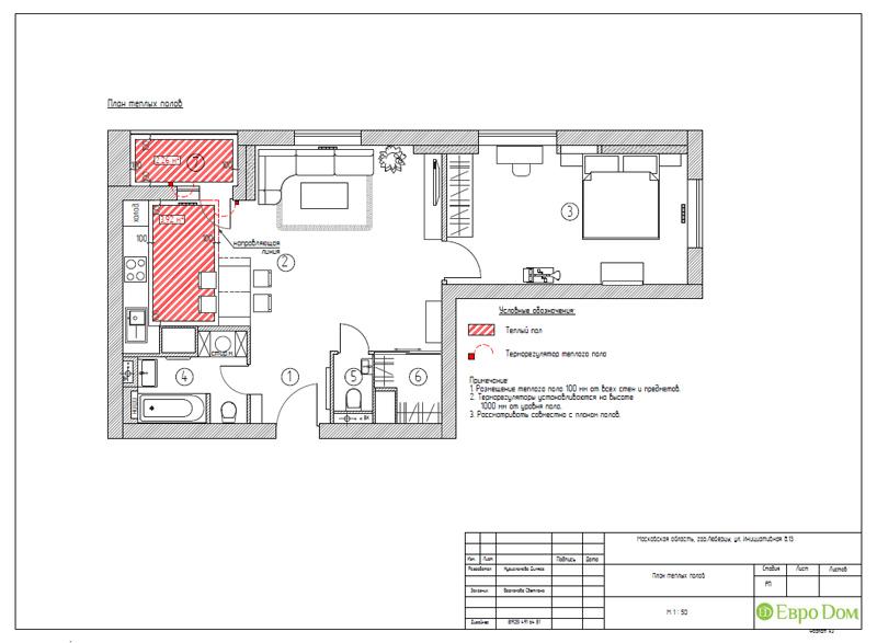 Дизайн двухкомнатной квартиры 63 кв. м в стиле белый лофт. Фото 022