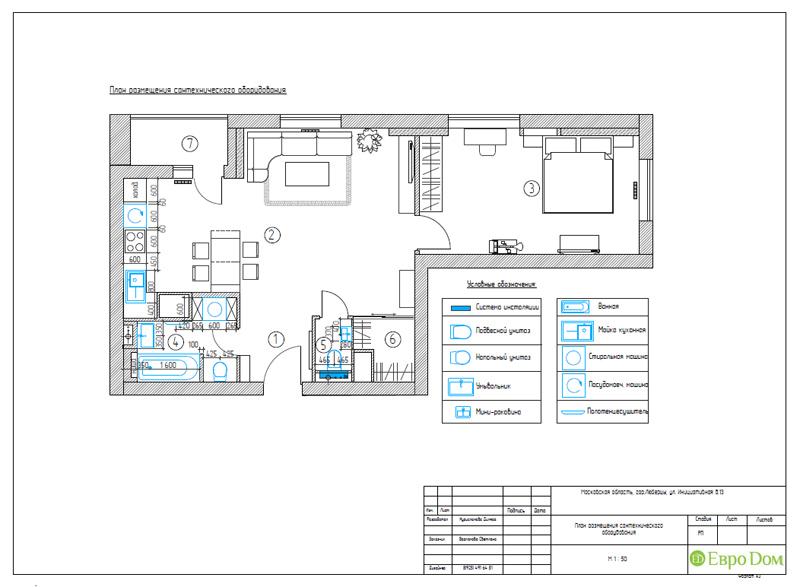 Дизайн двухкомнатной квартиры 63 кв. м в стиле белый лофт. Фото 023